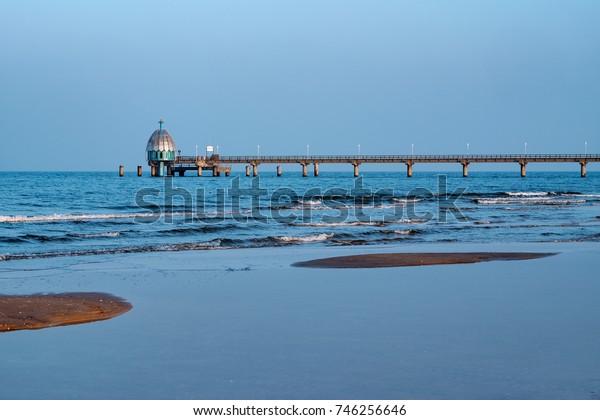 Beach and sea bridge near Zinnowitz/Germany