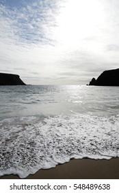 Beach and the sea of the north coast of ireland