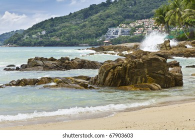 beach sea Patong , Puket , , be the sea where have sea power water and many rock ,