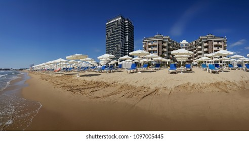 Beach of sea resort Sunny Beach on the bulgarian Black Sea coast
