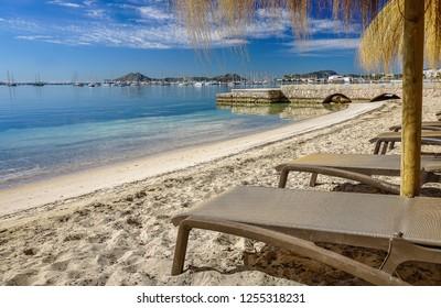 The beach and the sea scape view of Port de Pollenca city. Mallorca, Spain