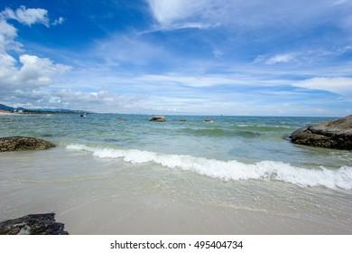 Beach and  sea with sky at Huahin Thailand