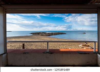The beach and the sea in the stretch that goes from cuttlefish to the port of boats of the small town of Rosignano Solvay, province of Livorno, Tuscany