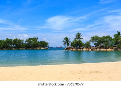 The Beach of Sentosa Island in Singapore town, Singapore.