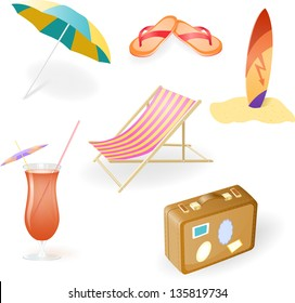 Beach Set From Chaise Lounge, Beach  Umbrella, Beach Footwear, Cocktail, Suitcase and Surfboard