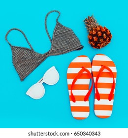 Beach set. Summer trends. Minimal style