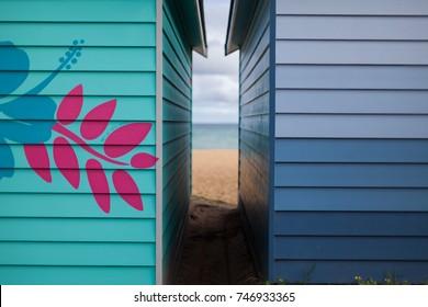 Beach shacks located on the Mornington Peninsula