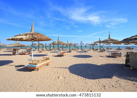 Beach in Sharm El Sheikh, Egypt. Beach in Hurghada
