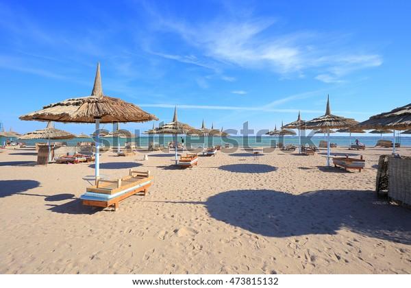 Beach in Sharm El Sheikh, Egypt. Beach in Hurghada