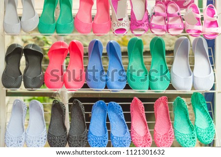 e83312db7 ... Stock Photo (Edit Now) 1121301632 - Shutterstock. Beach shoes in the  store