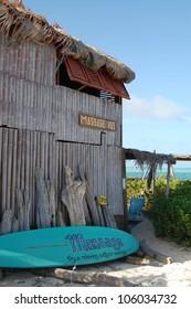 Beach side outdoor massage hut