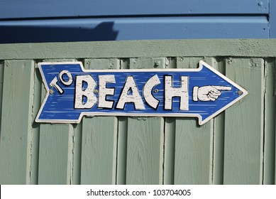 To Beach sign on beach hut at Ferring near Worthing. West Sussex. England.