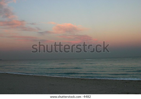 beach and sky at dusk