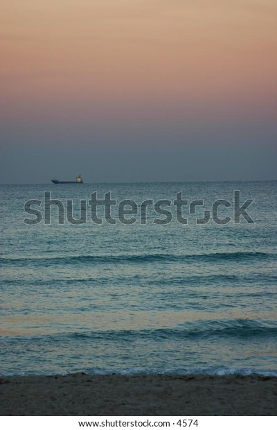beach and sky at dusk