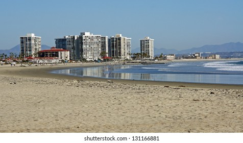 The beach and skyline of Coronado Island, off the coast of San Diego California