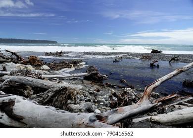 Beach in storm fury, Westcoast of New Zealand, South Island, November 2017