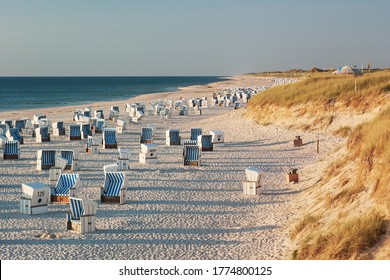 Beach with strandkorbs (beach basket chairs) and dunes in evening light near Kampen on Sylt at the North Sea, Schleswig-Holstein, Germany.