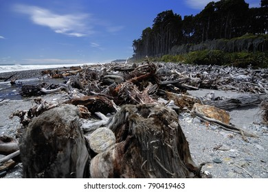 Beach strawn with stranded timer on the westcoast of the South Island of New Zealand. Stormy weather continues to pound the rugged beach, Westcoast, South Island, New Zealand, November 2017