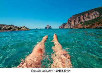 Beach summer activities, Sardinia, Italy, Europe