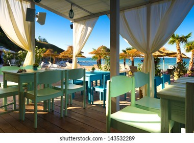 Beach summer restaurant on the Black Sea ,Burgas ,Bulgaria