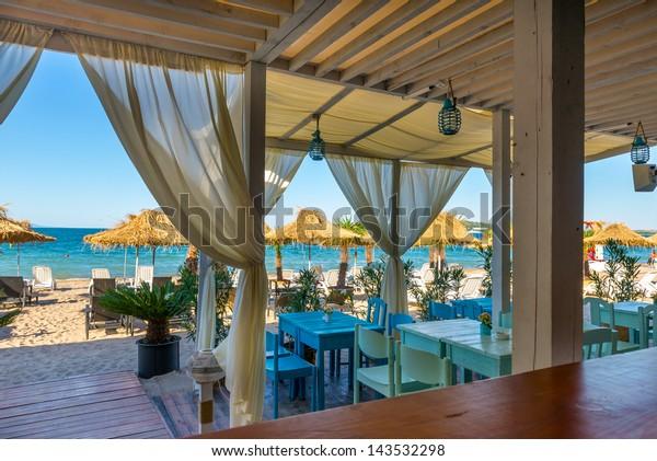 Beach Sommer Restaurant am Schwarzen Meer, Burgas, Bulgarien