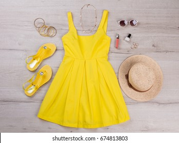 Beach summer sundress with hat and accessories. Summer set of things for a girl.