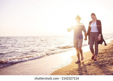 Beach of summer time and two lovers