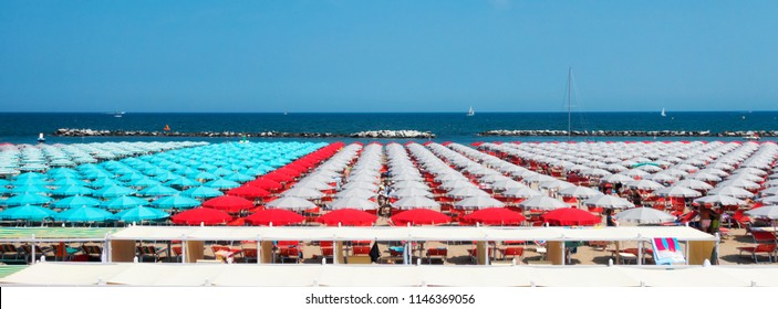beach with sunbed and umbrella in Cattolica, near Rimini and Riccione, Emilia Romagna, Italy