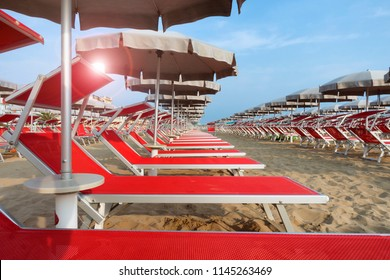 beach with sunbed and umbrella in Rimini and Riccione, Emilia Romagna, Italy