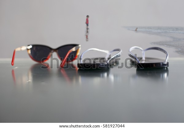 Beach. Sunglasses. flip-flops.