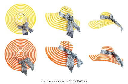 Beach sunhat for summer holiday. Yellow and orange woven hat with ribbon and bow on white background with clipping path. Beautiful woman is straw hat or cap from a side view isolated. Top view.