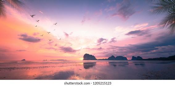 Beach sunset background. Pak Meng Beach, Trang, Thailand, Asia