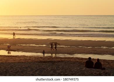 Beach at sunset in Cornwall, UK