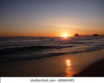 Beach at sunset. Huntington Beach, CA.