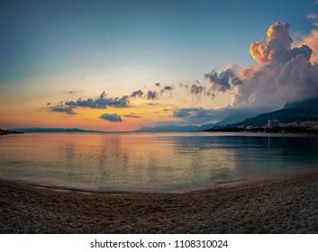 Beach at sunset in Makarska, Croatia.