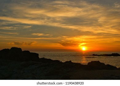 Beach sunset in north of Portugal