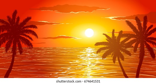 Beach at sunset. Silhouettes of palm trees on the background of ocean.