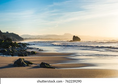 Beach at sunset time in Biarritz city, Basque country of France