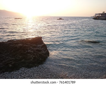A Beach Sunset In Vlora Albania.