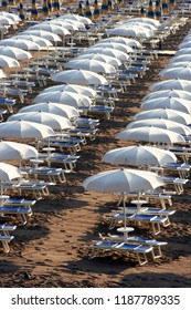 Beach with sunshades in Becici, Montenegro, Europe