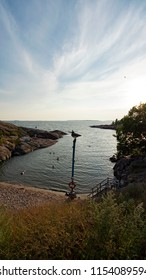 The Beach of Suomenlinna, Castle of Finland in English, an island fortress in the Gulf of Finland, protecting the capital city of Helsinki. Suomenlinna is an UNESCO World Heritage Site.