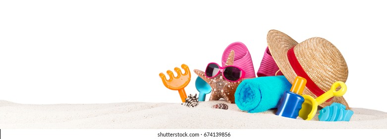 beach supplies accessory on sand isolated on white panorama background