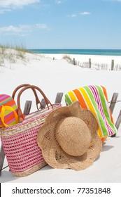 beach supplies on sand dune