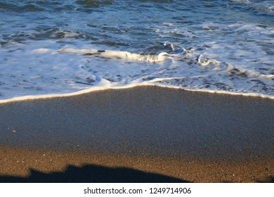 beach and swell in Pyrenees orientales, Roussillon region of France