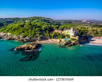 Beach of Tamarit. Tarragona, Catalonia,Spain. Drone Photo