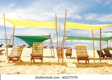 Beach tents in Caraiva beach, Brazil