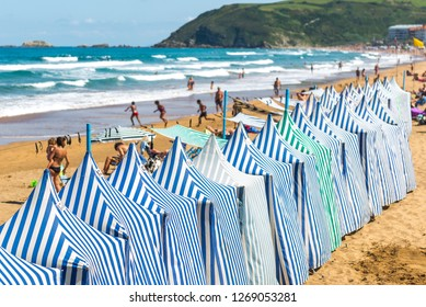 Beach tents In Zarautz, Basque Country, Spain