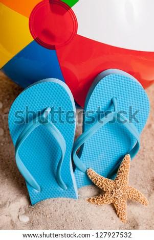 dcdb3f42122b Beach Themed Beach Ball Flip Flops Stock Photo (Edit Now) 127927532 ...