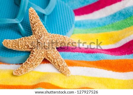 80fbcd0ba0df Beach Themed Starfish On Flip Flops Stock Photo (Edit Now) 127927526 ...