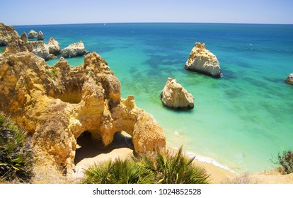 Beach of the Three Brothers (Praia dos Tres Irmaos) in Algarve, Portugal